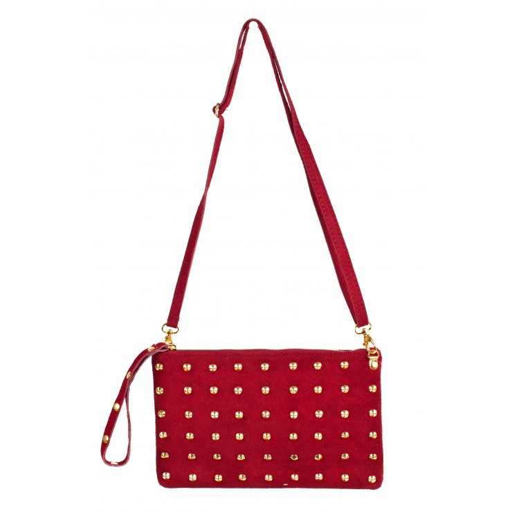 Kožená kabelka 841 rudá Made in Italy