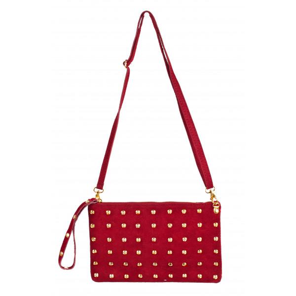 Kožená kabelka 841 červená Made in Italy