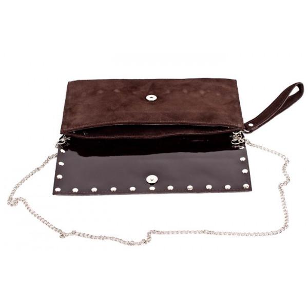 Kožená kabelka 844 tmavohnedá Made in Italy