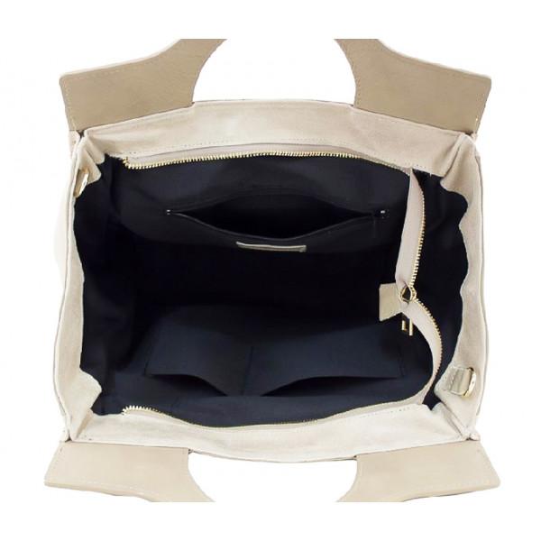 Kožená kabelka 1242 béžová Made in Italy