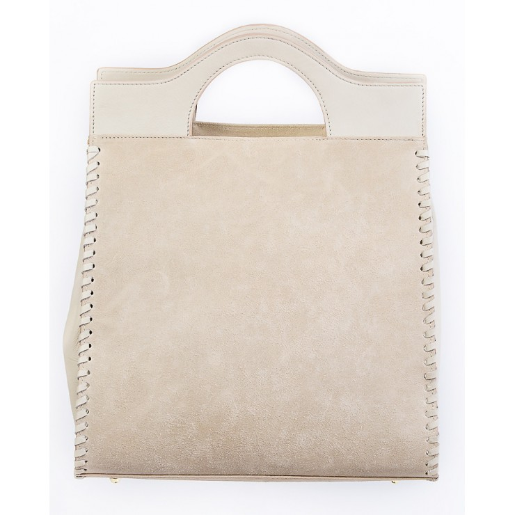 Woman Leather Handbag 1242 beige Made in italy