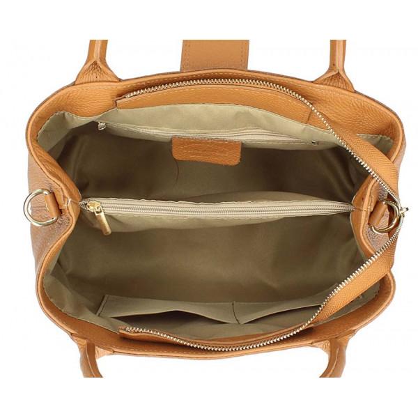 Tmavá šedohnedá kožená kabelka 1137 Šedohnedá
