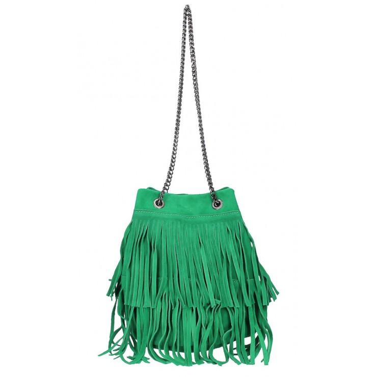 Semišová třásňová kožená kabelka 429 zelená