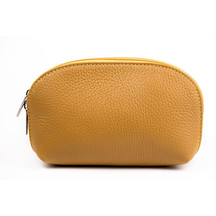 Leather Pouch 593 mustard Made in Italy