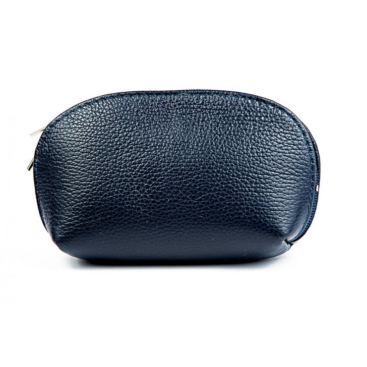 Leather Pouch 593 blue navy Made in Italy