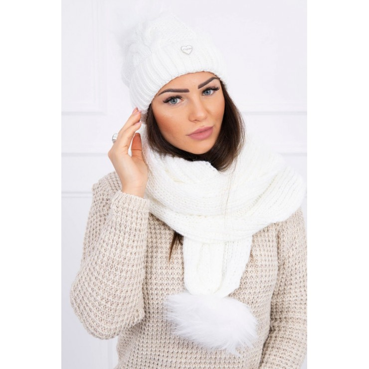 Women's Winter Set hat and scarf  MI522A white