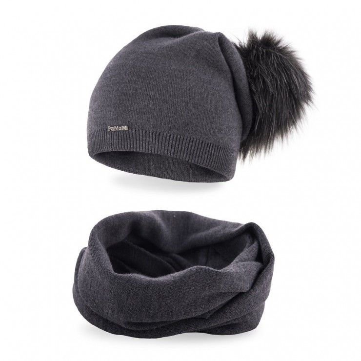 Women's Winter Set hat and scarf  MI67B dark gray