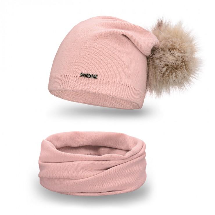 Dámsky set čiapka a nákrčník MI67B ružový