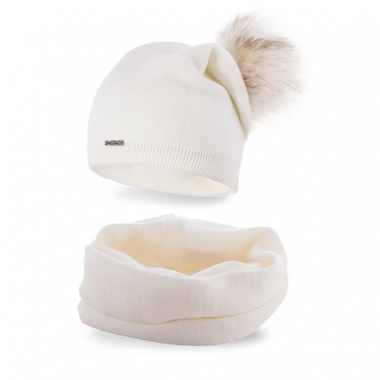Women's Winter Set hat and scarf  MI67B cream