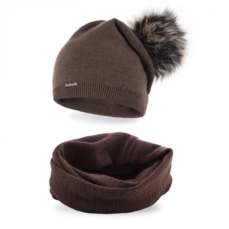 Women's Winter Set hat and scarf  MI67B dark brown