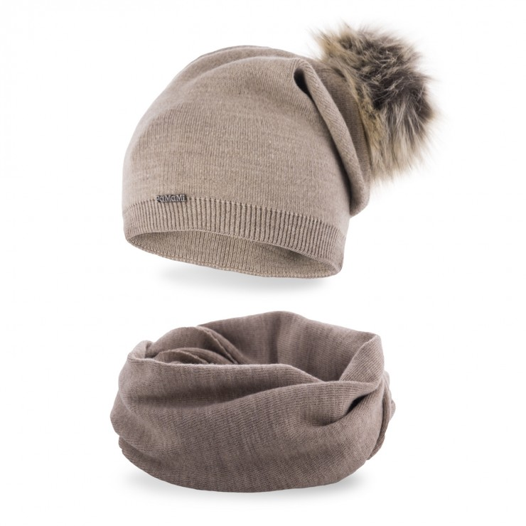 Women's Winter Set hat and scarf  MI67B cappuccino