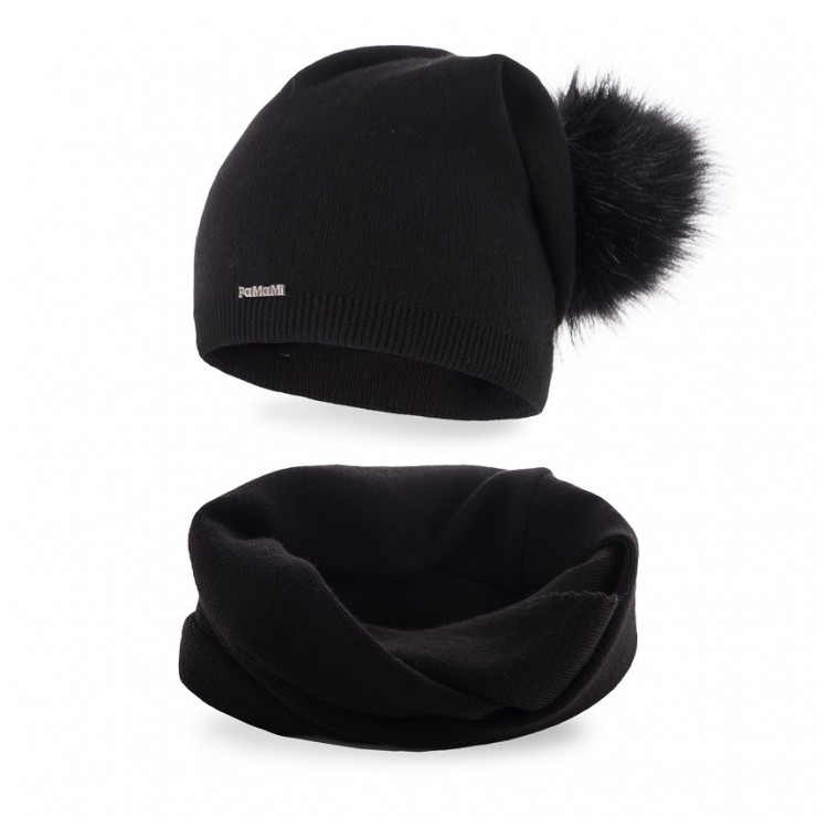 Women's Winter Set hat and scarf  MI67B black