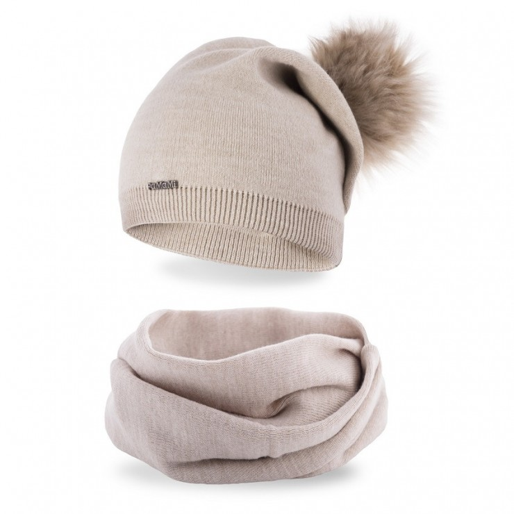 Women's Winter Set hat and scarf  MI67B beige