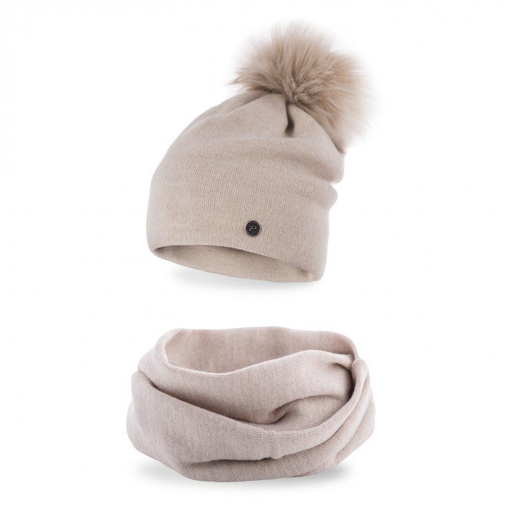 Women's Winter Set hat and scarf  MI67 beige