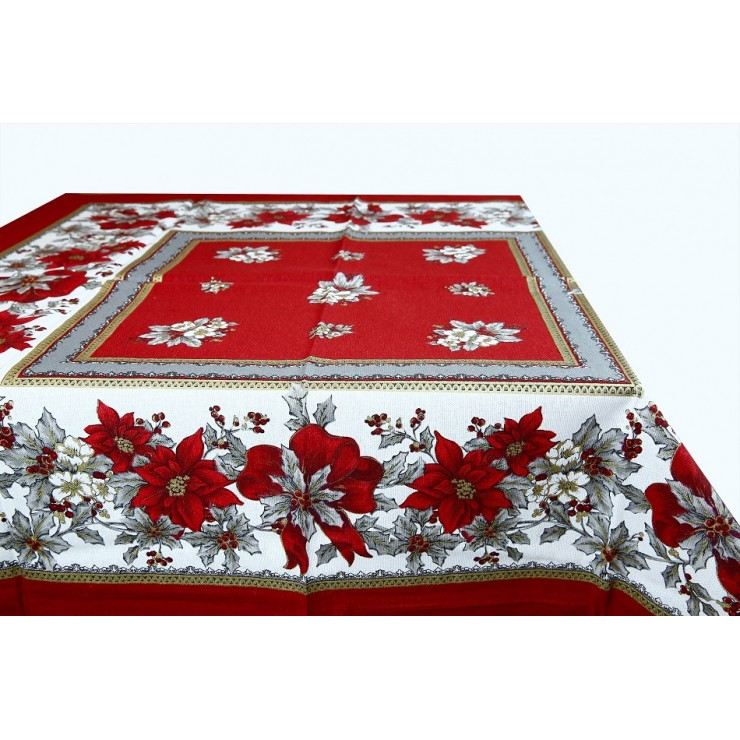Cotton tablecloth Christmas roses Made in Italy