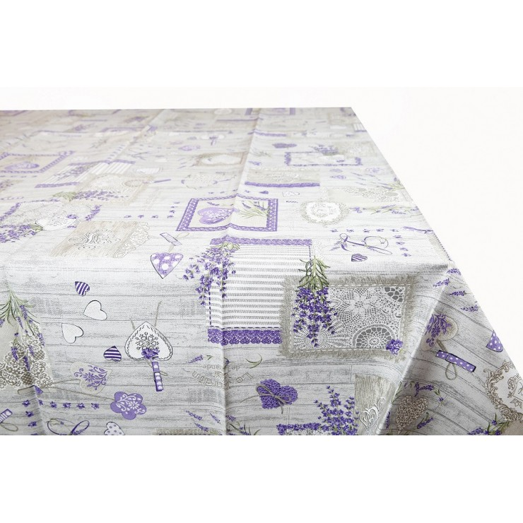 Cotton tablecloth Lavender Made in Italy