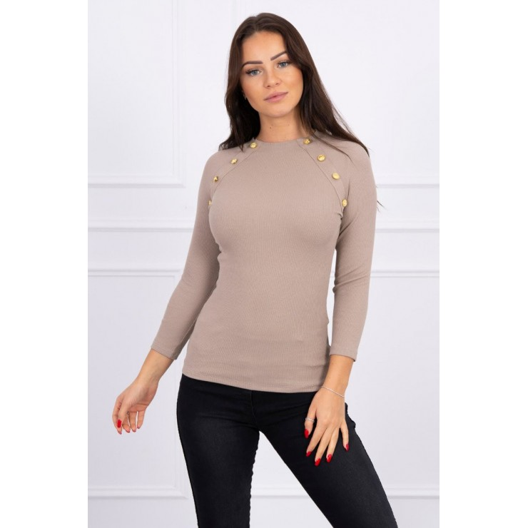 T-shirt with decorative buttons MI5197 cappuccino
