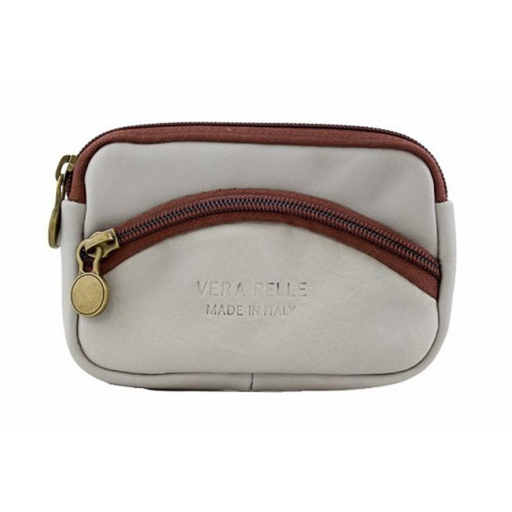 Leather Pouch 1241 gray Made in Italy