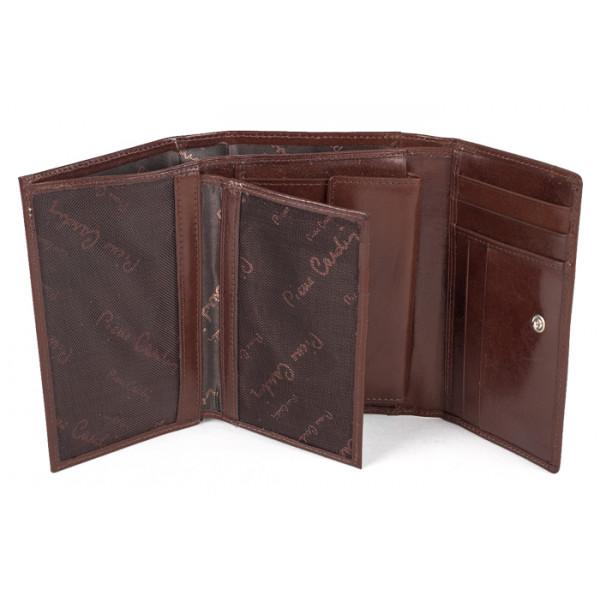 Dámska kožená peňaženka P076 PSP01 hnedá PIERRE CARDIN Hnedá