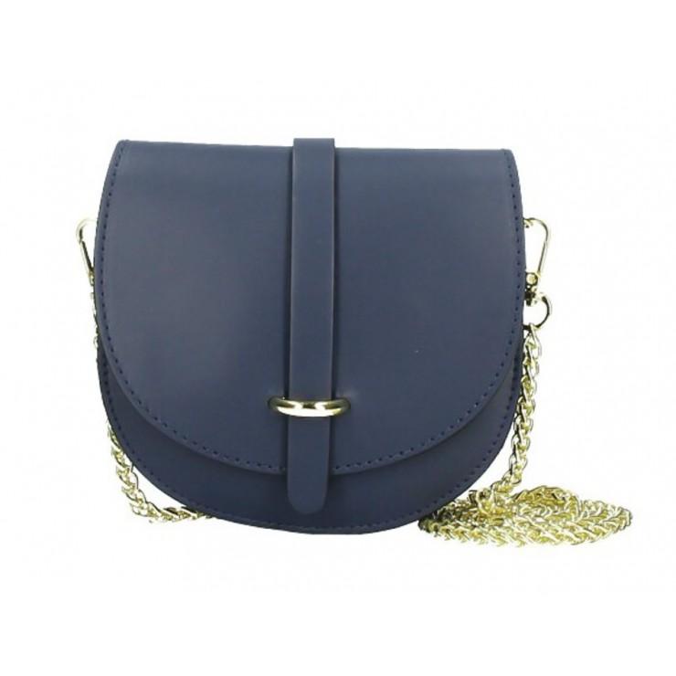 Kožená kabelka na rameno MI198 modrá Made in Italy