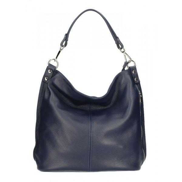 Kožená kabelka na rameno 981 modrá Made in Italy