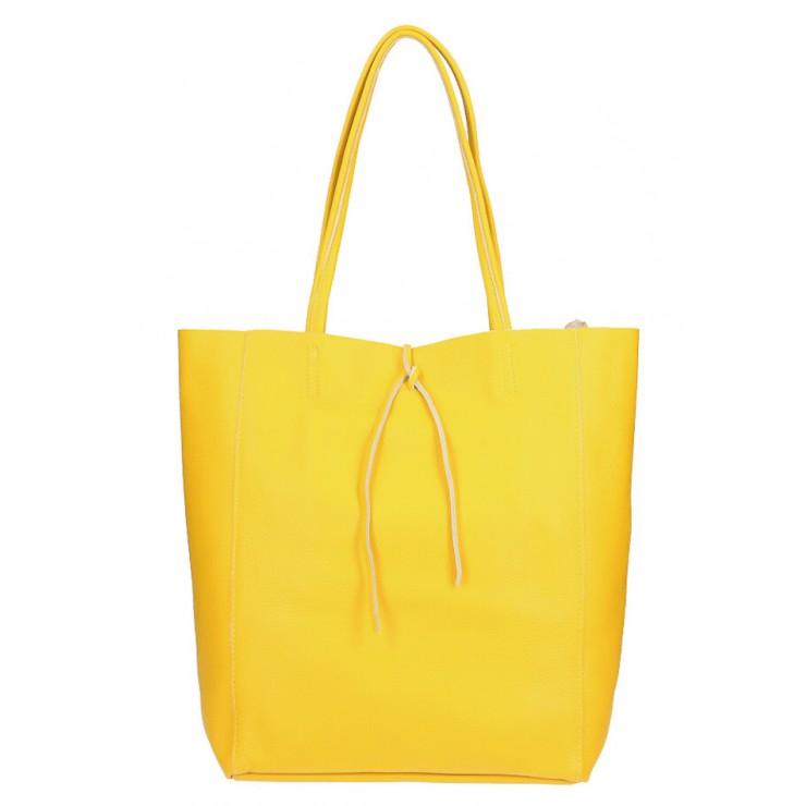 Kožená shopper kabelka 396 žltá Made in Italy