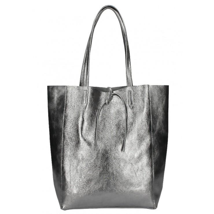 Genuine Leather Maxi Bag 396 gray metallic