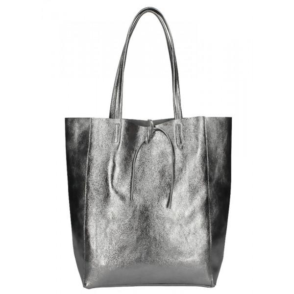 Kožená shopper kabelka 396 šedá metalíza