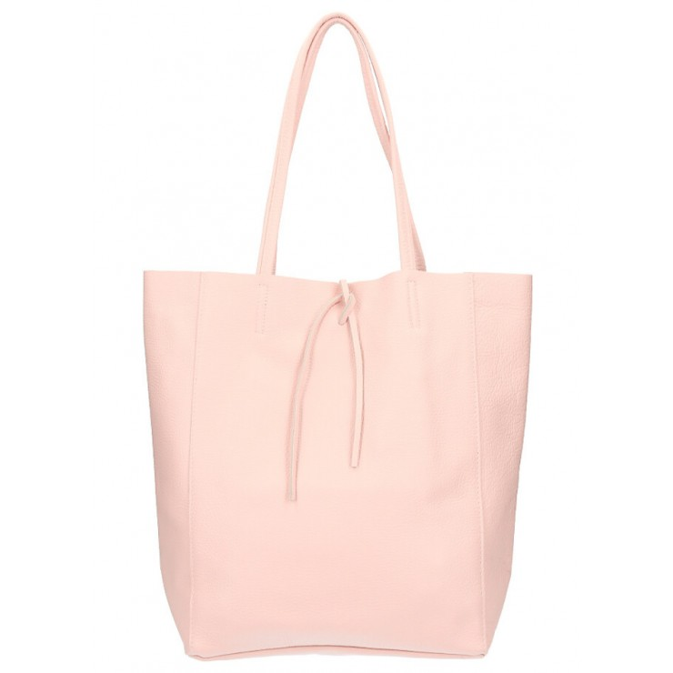 Kožená shopper kabelka 396 ružová