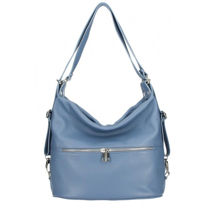 Leather shoulder bag/Backpack 328 light blue