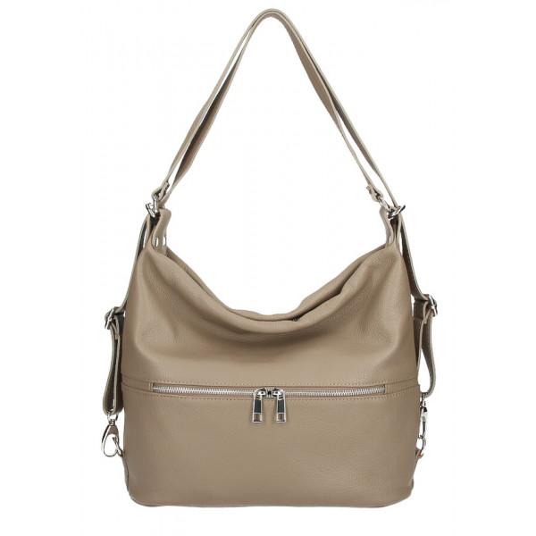 Kožená kabelka na rameno/batoh 328 tmavá šedohnedá