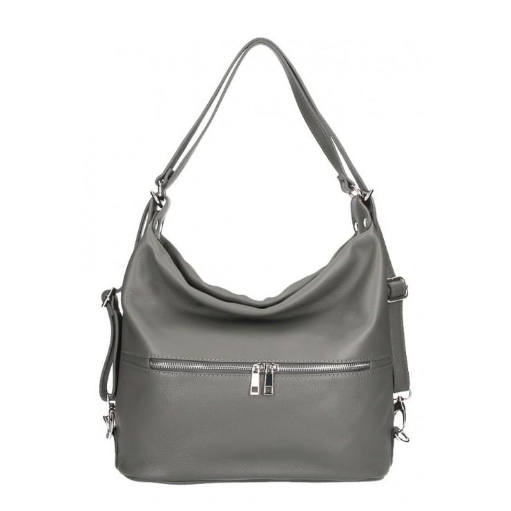 Leather shoulder bag/Backpack 328 dark gray