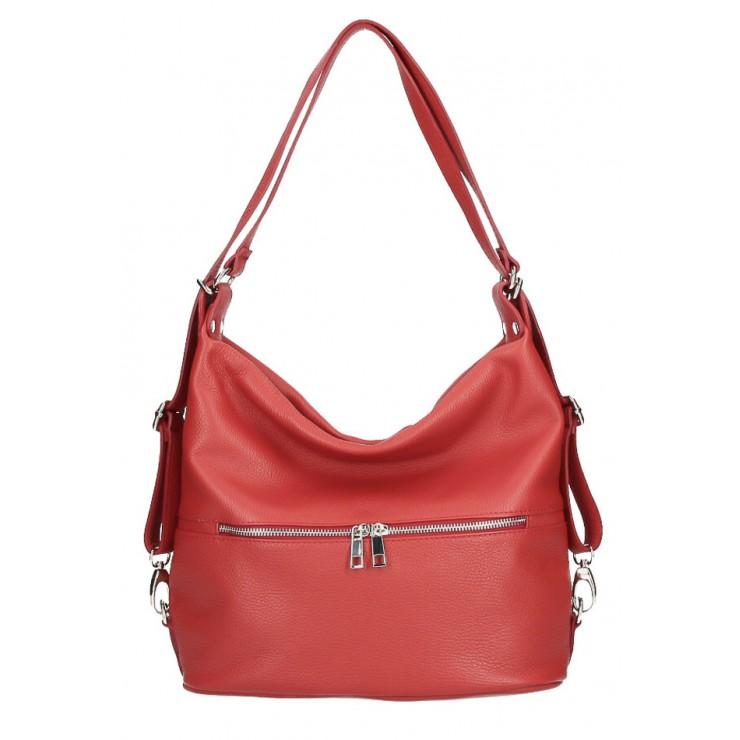 Kožená kabelka na rameno/batoh 328 tmavočervená