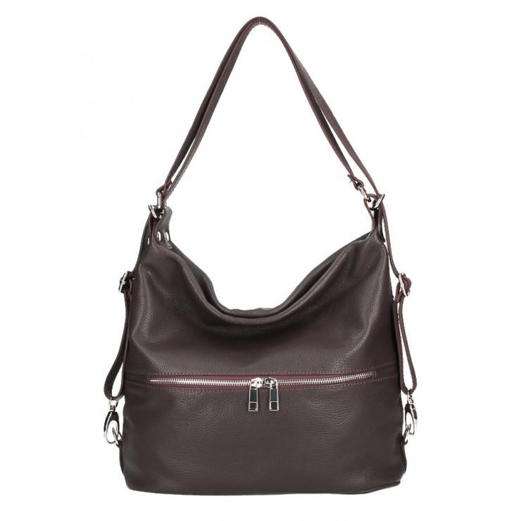 Kožená kabelka na rameno/batoh 328 tmavohnedá