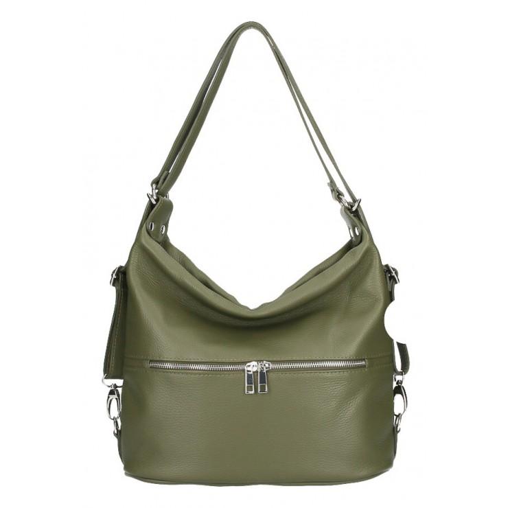 kožená kabelka na rameno/batoh 328 vojenska zelená