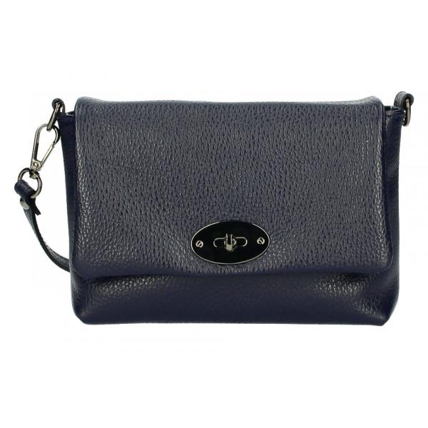 Kožená kabelka na rameno MI194 modrá Made in Italy