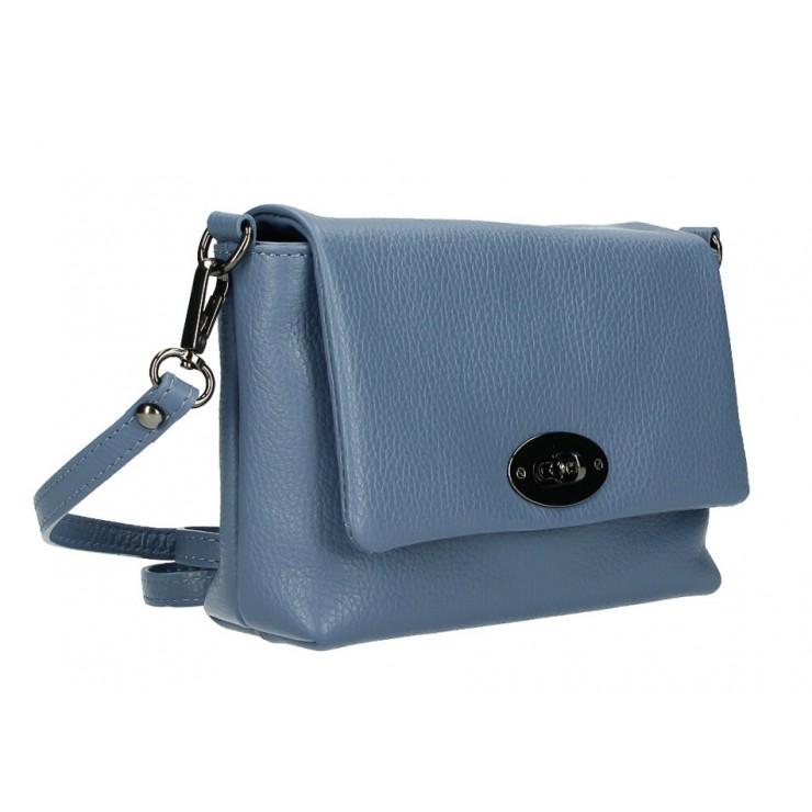 Kožená kabelka na rameno MI194 nebesky modrá Made in Italy
