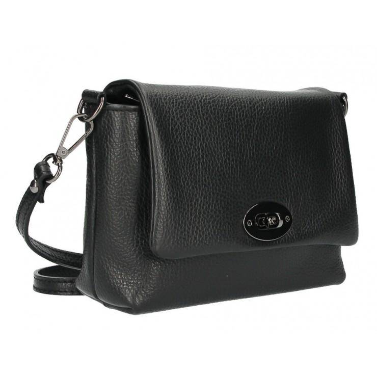 Kožená kabelka na rameno MI194 čierna Made in Italy