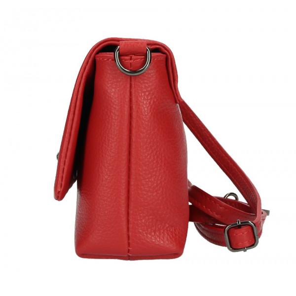 Kožená kabelka na rameno MI194 červená Made in Italy