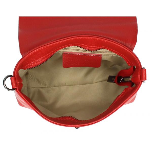 Kožená kabelka na rameno MI194 vojensky zelená Made in Italy