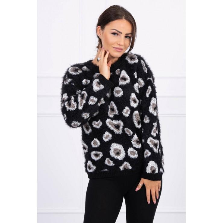 Dámsky sveter s leopardím vzorom MI2019-27 čierny