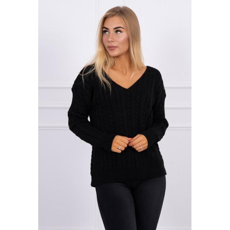 Dámsky sveter s výstrihom 2019-33 čierny