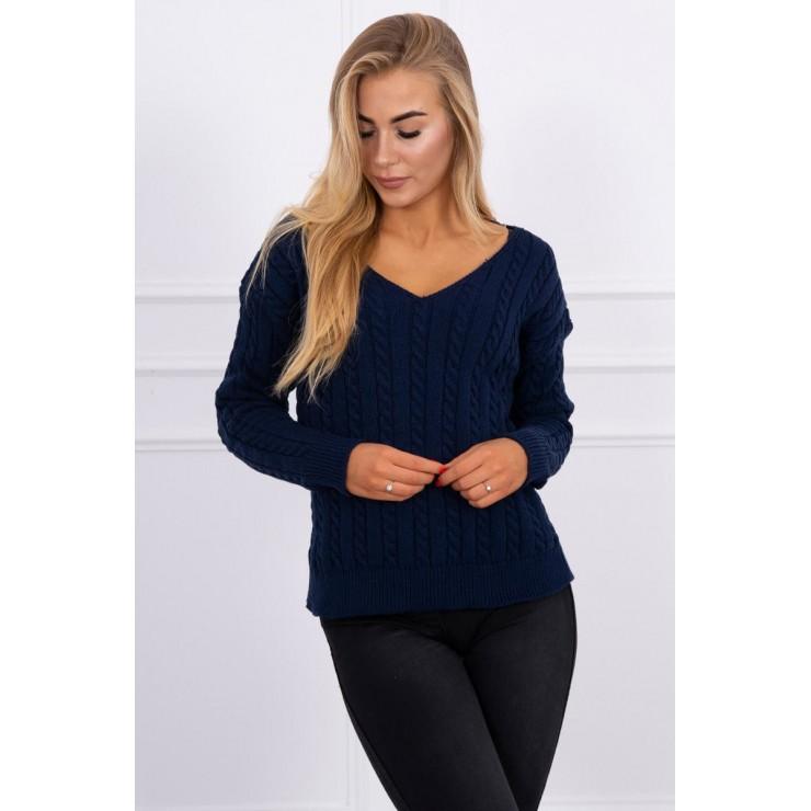 Dámský svetr s výstřihem 2019-33 tmavě modrý