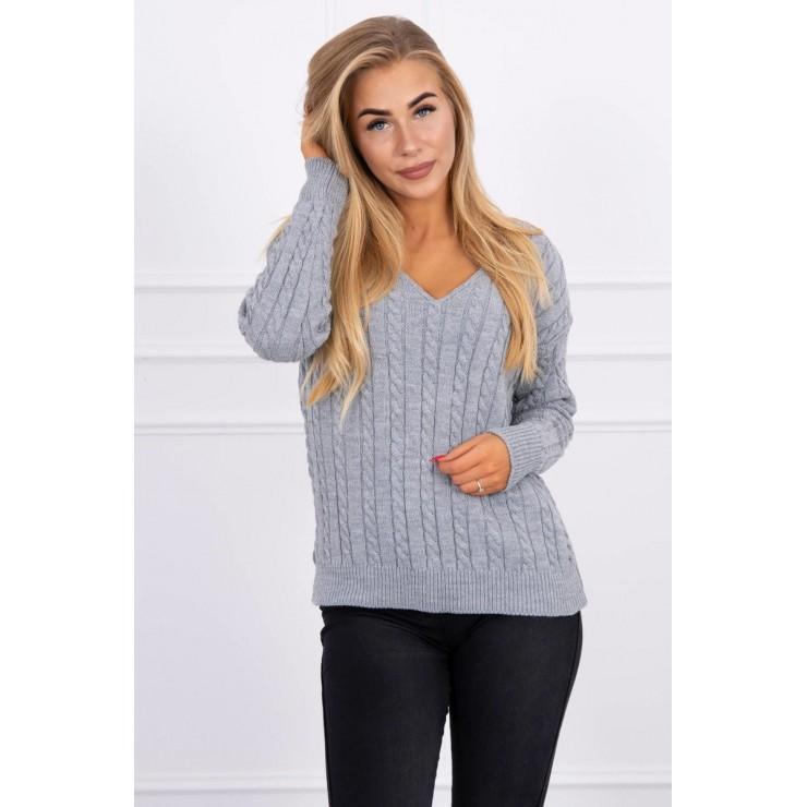 Dámský svetr s výstřihem 2019-33 šedý