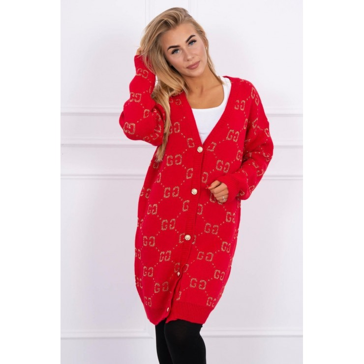 Ladies sweater with gold buttons 2019-32 red