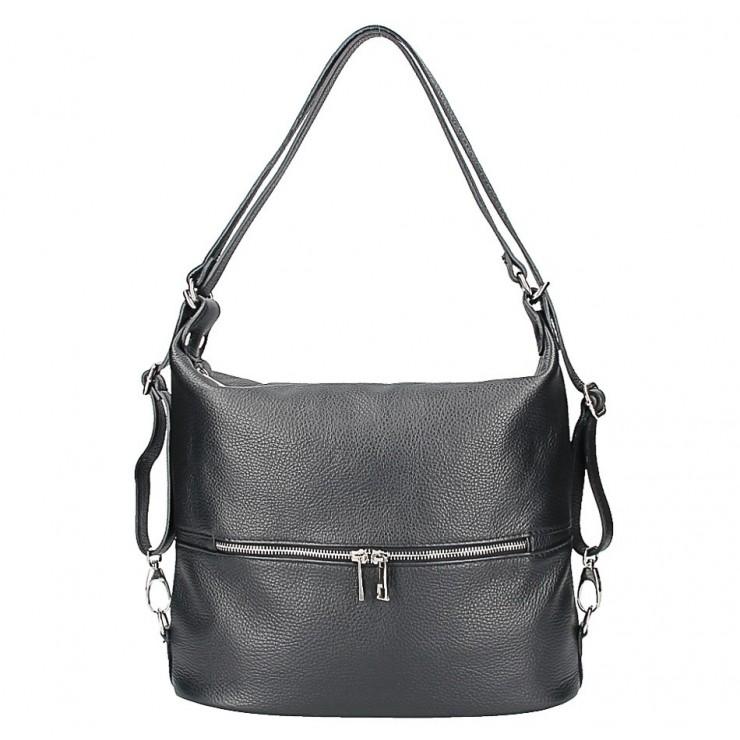 Kožená kabelka na rameno/batoh 328 čierna Made in Italy