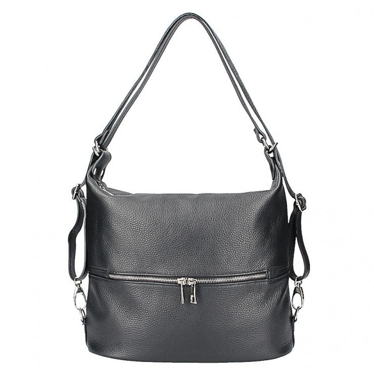 Leather shoulder bag/Backpack 328 black