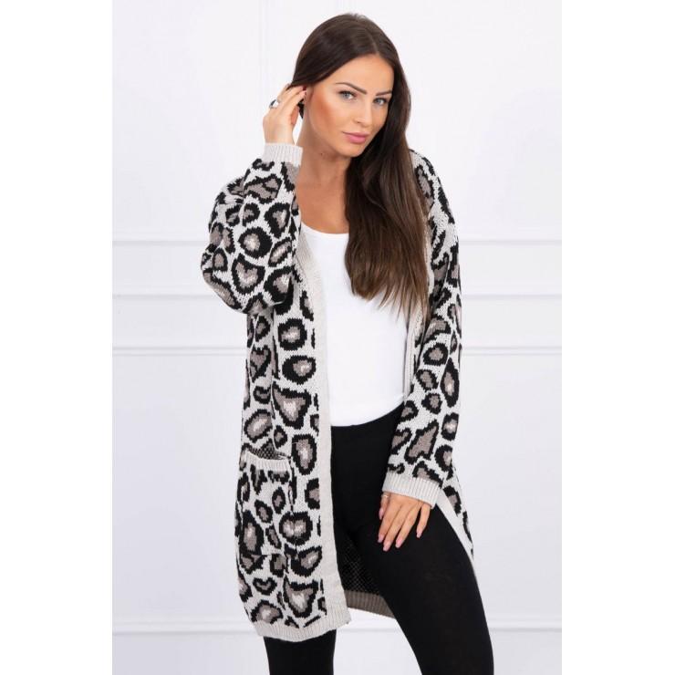 Dámsky sveter s leopardím vzorom MI2019-28 béžový