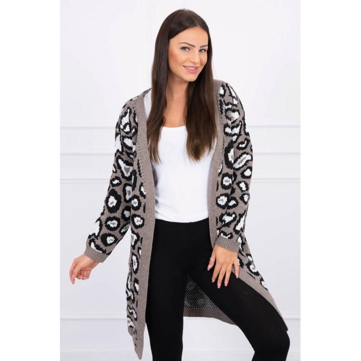 Dámsky sveter s leopardím vzorom MI2019-28 cappuccino
