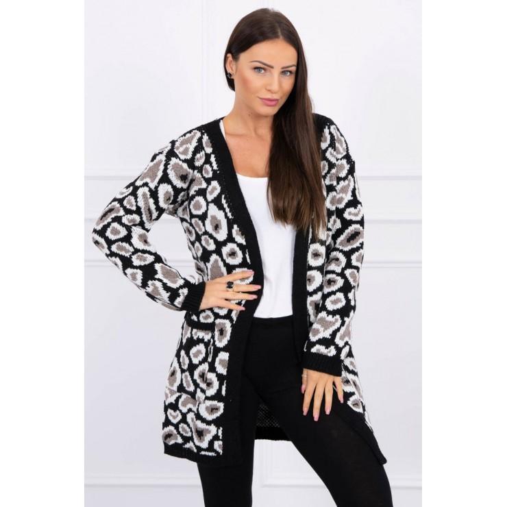 Dámsky sveter s leopardím vzorom MI2019-28 čierny